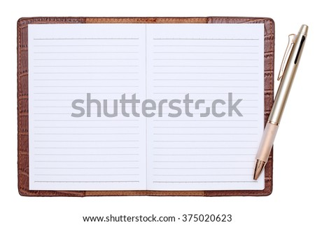Brown leather notebook with ballpoint pen isolated on white background - stock photo
