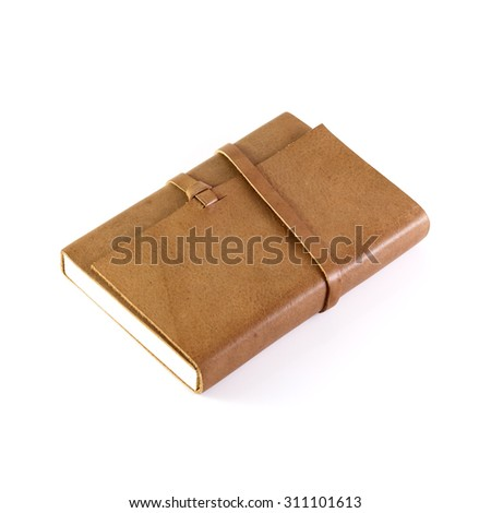 brown Leather notebooks isolated on white background - stock photo