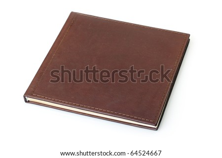 brown leather photo album cover - stock photo
