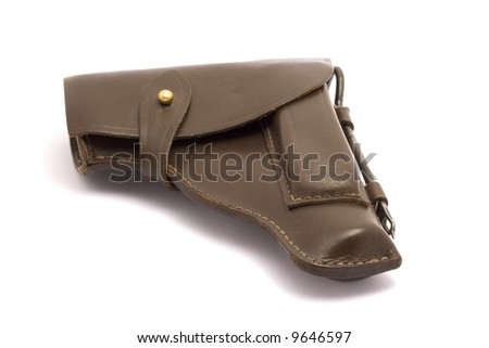 Brown leather PM gun holster isolated on white. - stock photo