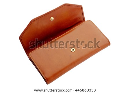 Brown Leather Purse - stock photo