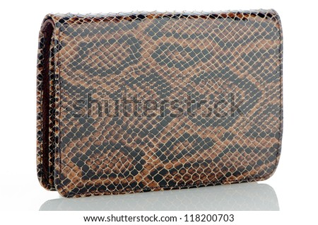 Brown leather purse isolated on white background. - stock photo
