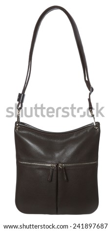 Brown Leather Purse isolated on white background - stock photo