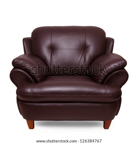 brown leather sofa isolated on white - stock photo