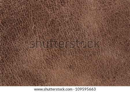 Brown leather texture closeup detailed background. - stock photo