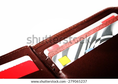 Brown leather wallet isolated on white - stock photo