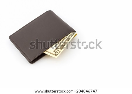 Brown leather wallet on white background. - stock photo