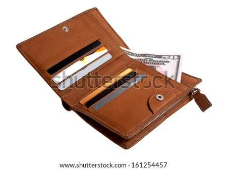 Brown leather wallet with credit cards and dollars isolated on white background - stock photo