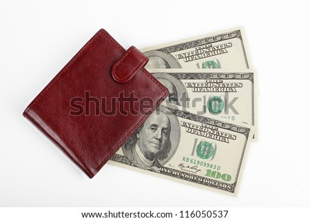 brown leather wallet with money isolated top view on white background - stock photo