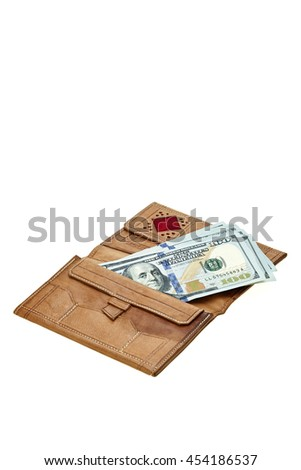 brown leather wallet with money on white background - stock photo