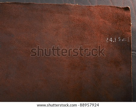 brown leather with seam - stock photo