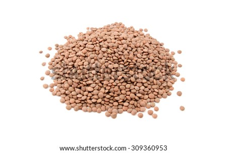 Brown lentils, isolated on a white background - stock photo