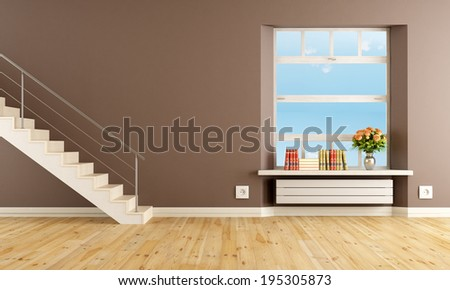 Brown living room with staircase and window - rendering - stock photo