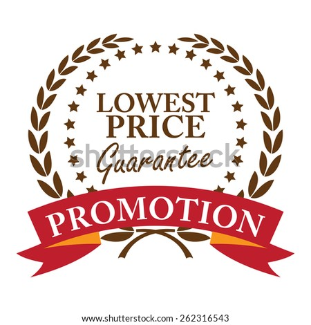 Brown Lowest Price Guarantee Promotion Wheat Laurel Wreath, Ribbon, Label, Sticker or Icon Isolated on White Background - stock photo