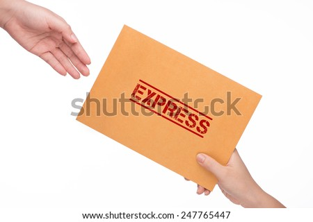 Brown mail package parcel wrap express delivery. Close-up Of Mailman Delivering Mail To Person Over White Background - stock photo