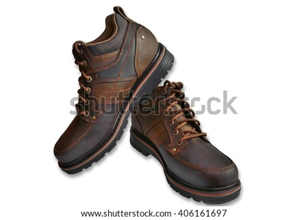 Brown male leather shoes for people with an active lifestyle over a white background - stock photo