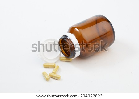 Brown medicine bottle - stock photo