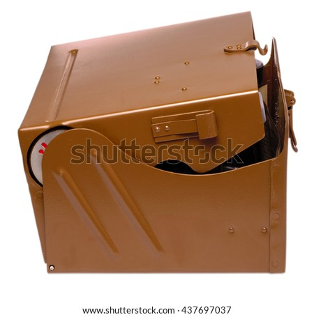 Brown metal military box cut out on white background - stock photo