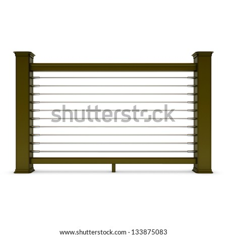 Brown metal railing with chrome strings - stock photo