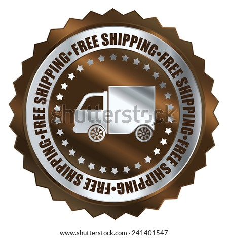 Brown metallic free shipping icon, tag, label, badge, sign, sticker isolated on white  - stock photo