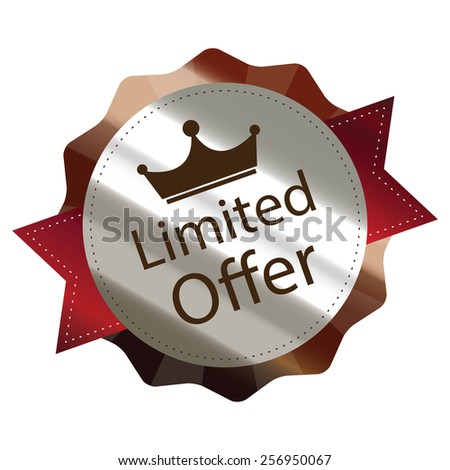 brown metallic limited offer sticker, sign, badge, icon, label isolated on white - stock photo