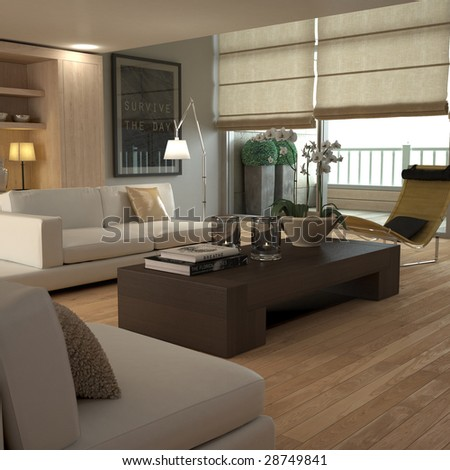 Brown modern interior (3D render - all visible elements self-modeled) - stock photo