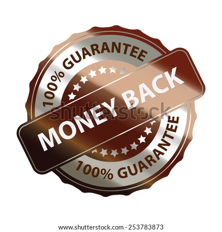 brown money back 100% guarantee sticker, banner, sign, icon, label isolated on white - stock photo