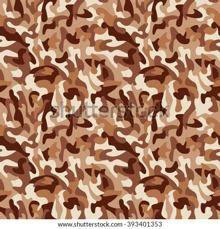 Brown monochromatic camouflage pattern repeats seamlessly. - stock photo