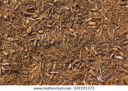 brown mulch with a touch of red - stock photo