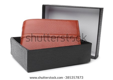 Brown natural leather wallet in black box on white background  - stock photo