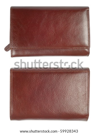 Brown natural leather wallet isolated over white background. Woman edition. 2 Clipping paths. Two sides from top. - stock photo
