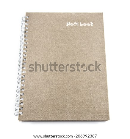 Brown notebook on a white background - stock photo