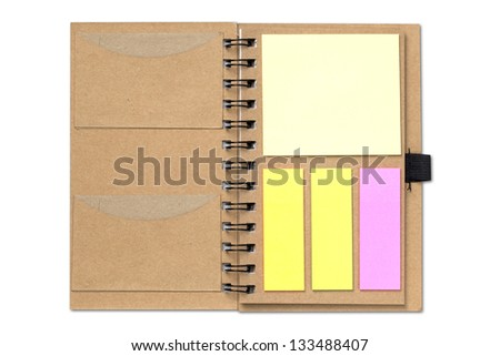 Brown notebook save environment by reuse paper - stock photo