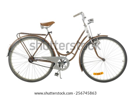 Brown Old fashioned bicycle isolated on white background - stock photo