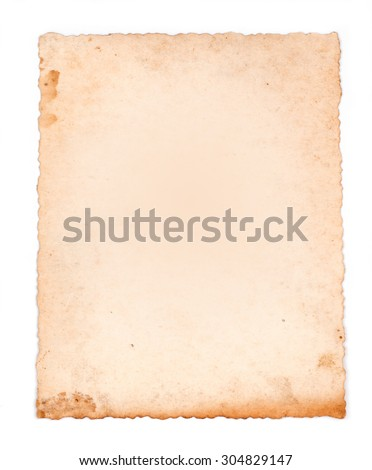 brown old paper isolated on white background - stock photo