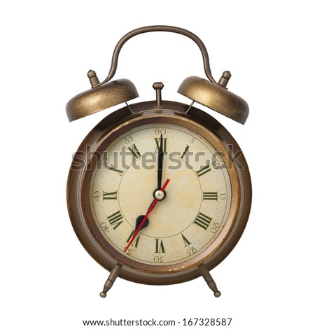 Brown old style alarm clock isolated on white - stock photo
