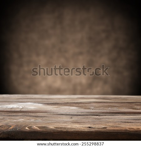 brown old wall background and desk  - stock photo