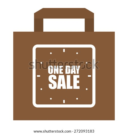 Brown One Day Sale Shopping Bag, Label, Sign or Icon Isolated on White Background - stock photo