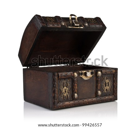 Brown, open wooden casket isolated on white - stock photo