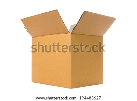 Brown opened various cardboard box isolated on white. Save with clipping path. - stock photo
