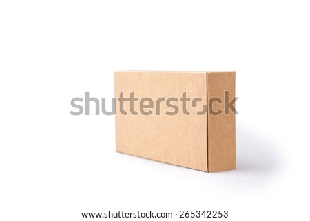 brown package box on isolated background - stock photo