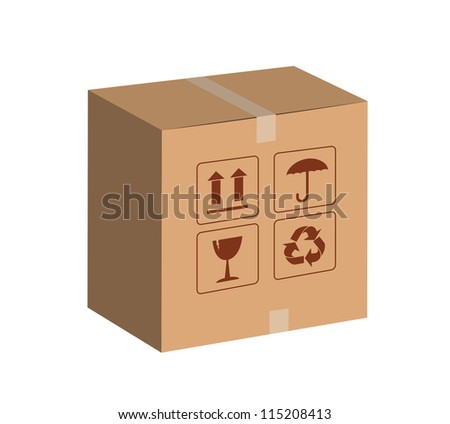 brown package for shipping order and sign. - stock photo
