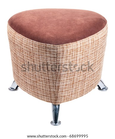 Brown padded stool, isolated on a white background - stock photo