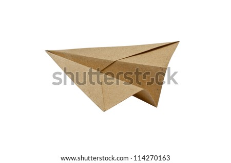 Brown Paper aircraft, Paper Plane on a white background, - stock photo