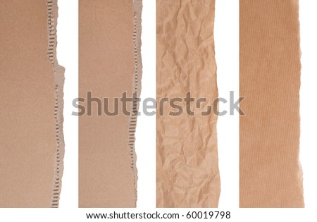 Brown paper and cardboard borders - stock photo
