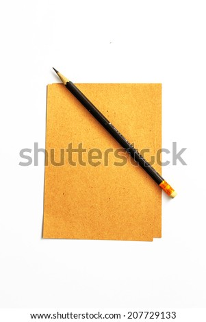 Brown Paper and Wooden Pencil. - stock photo