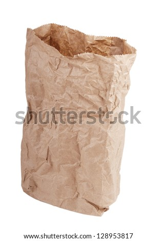Brown paper bag crushed and crumpled isolated on white - stock photo