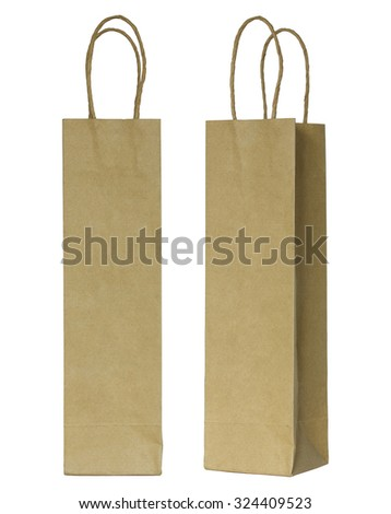 brown paper bag for wine bottles isolated on white - stock photo