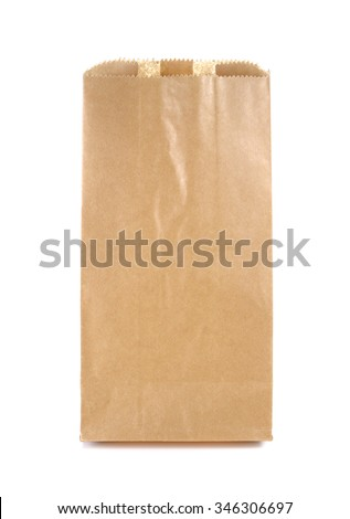 Brown Paper Bag isolated on a white background - stock photo