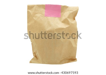 brown paper bag .isolated on white - stock photo
